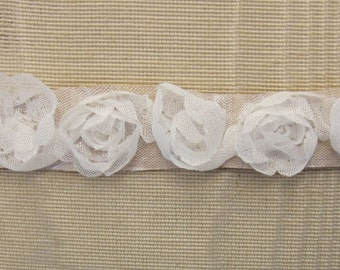Ivory Rose Bud Fabric Ribbon Flower Trim Journal Scrapbook Doll Quilt Sewing Couture