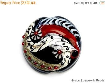 ON SALE 50% OFF Dakota Quilt Lentil Focal Bead 11834102 - Handmade Glass Lampwork Bead