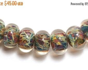 ON SALE 50% OFF Seven Blue, Green & Purple Free Style Rondelle Beads - Handmade Glass Lampwork Bead Set 10602401