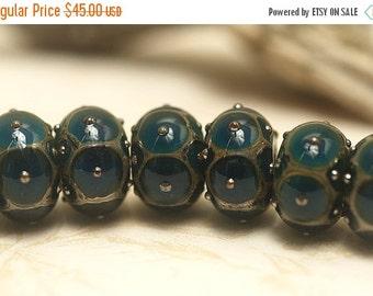 ON SALE 50% OFF Seven Teal w/Metal Dots Rondelle Beads Raised dots design - Handmade Glass Lampwork Bead Set 10410301