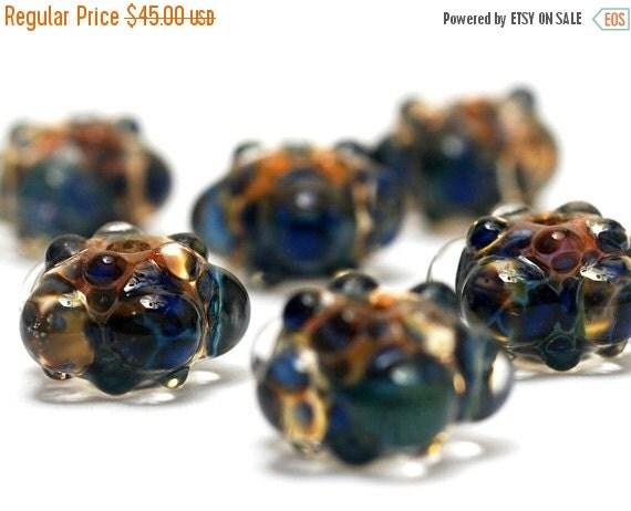 ON SALE 40% OFF Handmade Glass Lampwork Bead Sets - Six Blue & Orange Rondelle Beads - Bubbly Raised 10409421 -