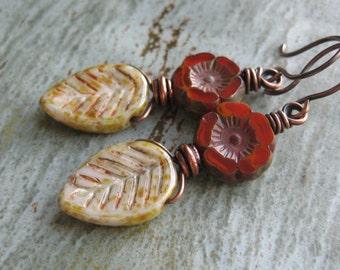Rustic Czech Glass Leaf and Flower Earrings