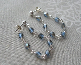 Blue Sapphire Faceted Czech Glass Wire Wrapped Dangle Ball Post Earrings in Sterling Silver