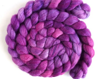 Pre-Order Colorway, Blueface Leicester/ Tussah Silk Roving (Top) - Handpainted Spinning or Felting Fiber,  Summer Purples