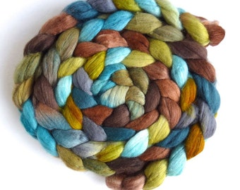 Merino/ Silk Roving (Top) - Handpainted Spinning or Felting Fiber, Blue Talisman