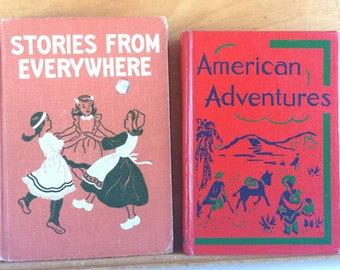 Vintage School Reader Lot 1950s 1940s American Adventures & Stories from Everywhere