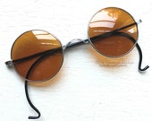 Reserved 1940s Sunglasses Non Amber Orange Yellow Lenses WWII Era Silver Metal Round Rare Unique Indie Grunge Alternative Hippie John Lennon
