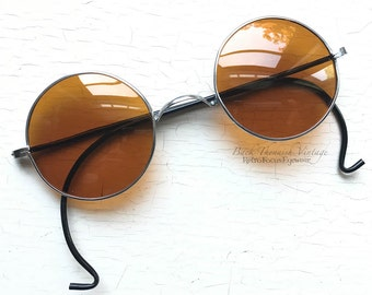 1940's Sunglasses Non Rx Amber Orange Yellow Lenses WWII Era Silver Metal Round Rare Unique Indie Grunge Alternative Hippie John Lennon