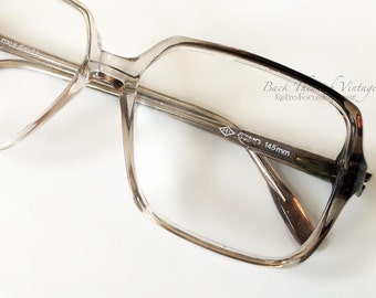 2 Sizes NOS 70's Taupe Brown Fade Clear Big Square Eyeglass Frames Italy OIT Vintage Hipster Retro Eyewear Eyeglasses