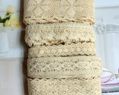 Country Rustic Fine Cream Light Beige Flower Floral Crochet Scallop Cotton Lace Ribbon Trim Set 5 Designs 10 Meters