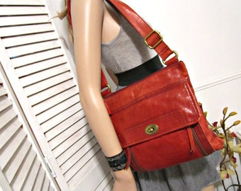 FOSSIL Red Leather Bag  Genuine Leather Purse Handbag Crossbody