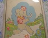 Valentines Day Sale Vintage framed nursery print decor elephant in sailor hat by J.T. Citroen N.Y.