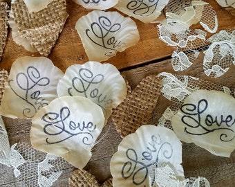 Burlap and Lace Hearts,Flower Girl Basket, Burlap wedding Confetti, Burlap Decor, Aisle rose petals, Wedding Rose Petals, Table Decor,  Love