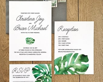 Watercolor Monstera Wedding Invitations
