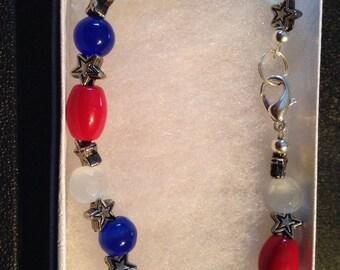 Red, white, and blue bracelet