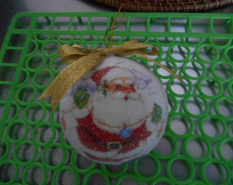 Vintage round ball Santa Claus Christmas Ornament with ice look to it