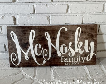 "Family Name sign 12"" x 24"" Family Established wood sign"
