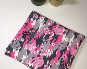 iPad Case, iPad Cover, Tablet Case, Fabric iPad Case, Gift Idea, Skull Camo iPad Cover