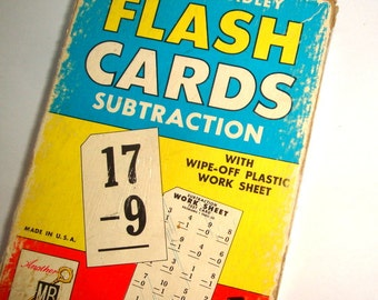 Vintage Flash Cards, Subtraction, Milton Bradley, 1959, Grades 2 Thru 6, 50 Cards, Teach, Home School, Paper Ephemera, Altered Art  (25-16)