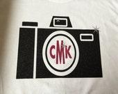 camera photographer monogram personalized tee vinyl glitter heat press transfer tshirt shirt funny saying