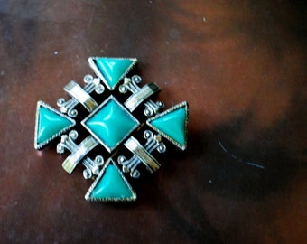 Boho vintage 70s  brass maltese cross, hand made brooch with a green-teal , geometric shape lucite accented.