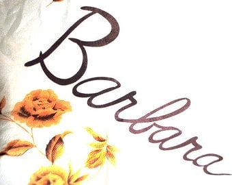 sweet vintage 50s white silk scarf with a yellow roses print and monogram of the name Barbara.