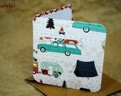Blank Mini Card Set of 10, Happy Camper Design with Contrasting Tribal Print on the Inside, Kraft Envelopes, mad4plaid