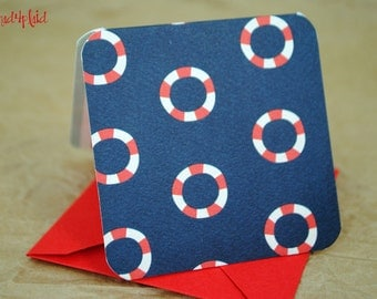 Blank Mini Card Set of 10, Mini Life Preservers with Contrasting Stripe on the Inside, Bright Red Envelopes, mad4plaid