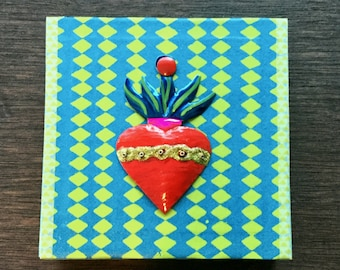 Mexican Sacred Heart Shrine Mexican Tin Blue Green Red