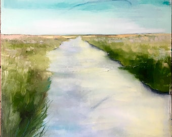 River Meadow, Original oil and acrylic painting on canvas , large art