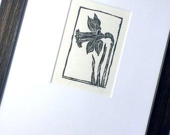 Framed Daffodil Linocut, Original Lino Cut Daffodil, Daffodil Flower Framed OriginalDaffodil Art, Framed Daffodil, Hand pulled Crow Linocut