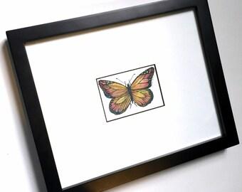 Butterfly Art Original Drawing, Framed Butterfly Ink and Watercolor Drawing, Butterfly Art, Original Ink Drawing, Framed ArtWatercolor