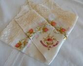 Enbroidered Floral Silk Hankie - Souvenir De France - Wide Lace Trim - Vintage Hankie