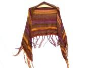 Fringe Shawl - Knit Shoulder Wrap - Southwestern Clothing