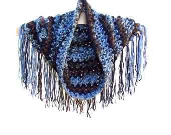Crochet Fringe Cowl - Boho Scarf - Womens Neck Warmer