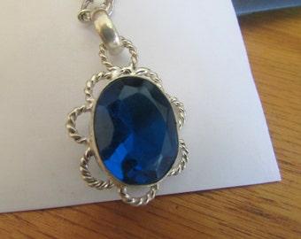 blue gem pendant necklace