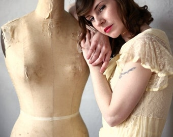 ON SALE 1920s Organza Dress in Yellow