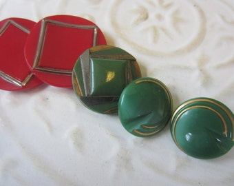 Vintage Button- 5 beautiful Art Deco red and green with  silver gold accents, very old, glass buttons ( oct 10b)