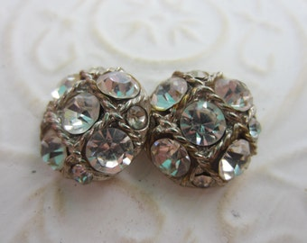Vintage Button - 2 beautiful matching domed design rhinestone embellished, silver antique finish metal (lot apr43b)