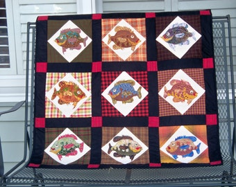 ANGLER'S DELIGHT, 39 inch square quilted wallhanging