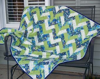 Sale BLUE GREEN CHEVRON, 38 X 50 Handmade Hippie Ecological Quilt