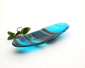 Long oval, fused glass dish, blue with dichroic