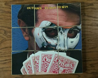 The Outlaws recycled Play'n to Win album cover coasters with record bowl