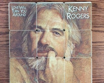 Kenny Rogers recycled 1982 music album, heirloom quality wood coasters with warped vinyl record bowl