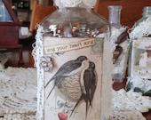 Altered Apothecary Bottle Antique Style Spring Decoration Antique Bird Decor Vintage Bird Decoration Shabby White Decor Handmade Bird Decor