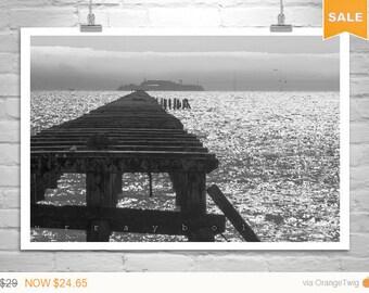 Sale 15% Berkeley Pier, Art Photography, San Francisco Bay, Alcatraz, California Art, Black and White, Fine Art Print, Ocean Art, Sea Art
