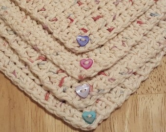 Confetti Hearts 100 percent cotton crocheted coasters embellished with mother of pearl buttons