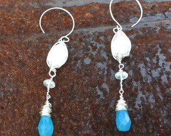 Annual Baby Sale Caged Snow White Druzy, Blue Chalcedony and Mystic  Rock Crystal Dangles