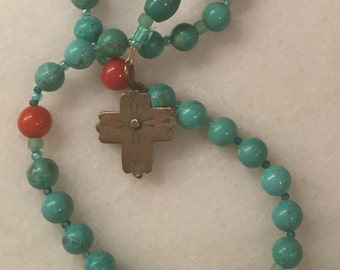 Turquoise and Red Coral Anglican Rosary  Protestant Prayer Beads  Episcopal Rosary. Blue Rosary blue prayer beads