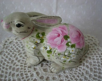 Easter Bunny Hand Painted Pink Rose Spring decor